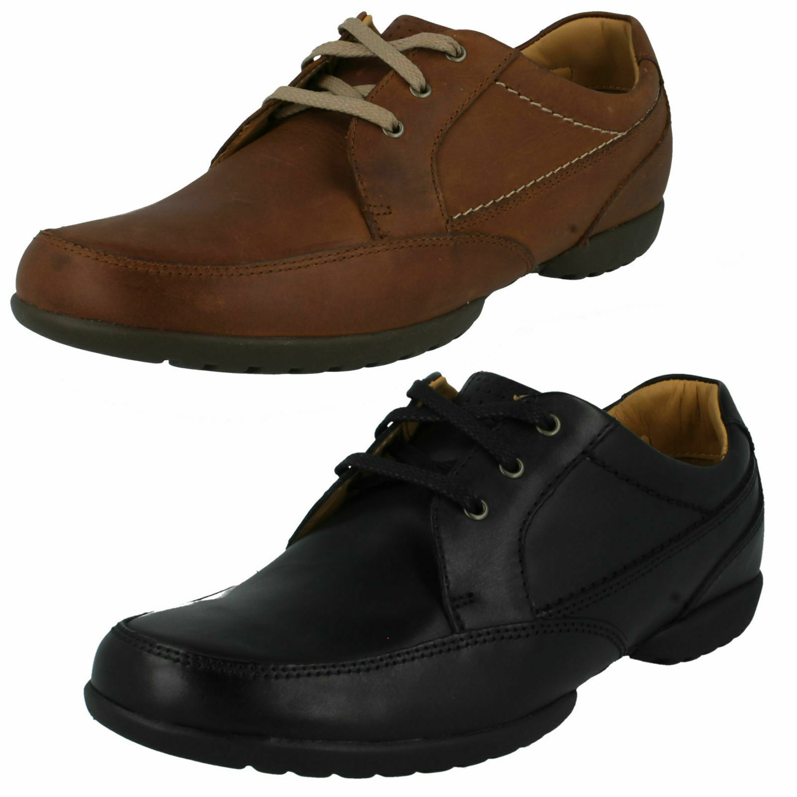 MENS CLARKS LEATHER EVERYDAY WORK CASUAL WIDE FIT LACE UP SHOES RECLINE OUT