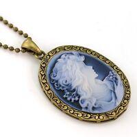 Vintage Antique Style Blue Raise Cameo Necklace Pendant