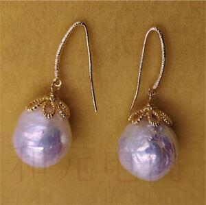 13-15MM HUGE baroque pearl earrings 18K gold plating TwoPin Mesmerizing