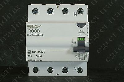 Dorman Smith 40A 30mA RCD RCCB LLMA40/30/4 Three Phase - TESTED - Free Delivery
