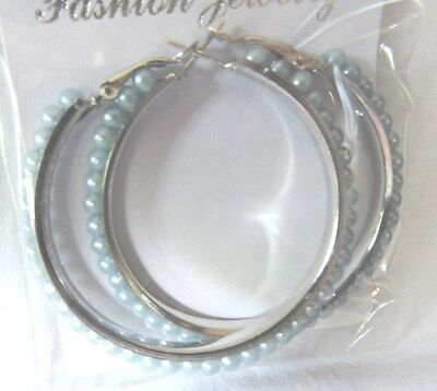 "Blue 2"" long hoop earrings loop circle"