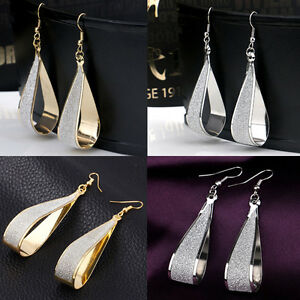 Womens-Fashion-Gold-Silver-Party-Stud-Earrings-Crystal-Scrub-Water-Drop-Jewelry