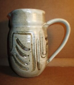 Studio Art Pottery Water Pitcher Handmade Great Design Signed Christy Ebay