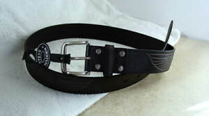 STEVE-MADDEN-Black-Leather-Motorcycle-Belt-Mens-size-32-with-EAGLE-NEW-NWT