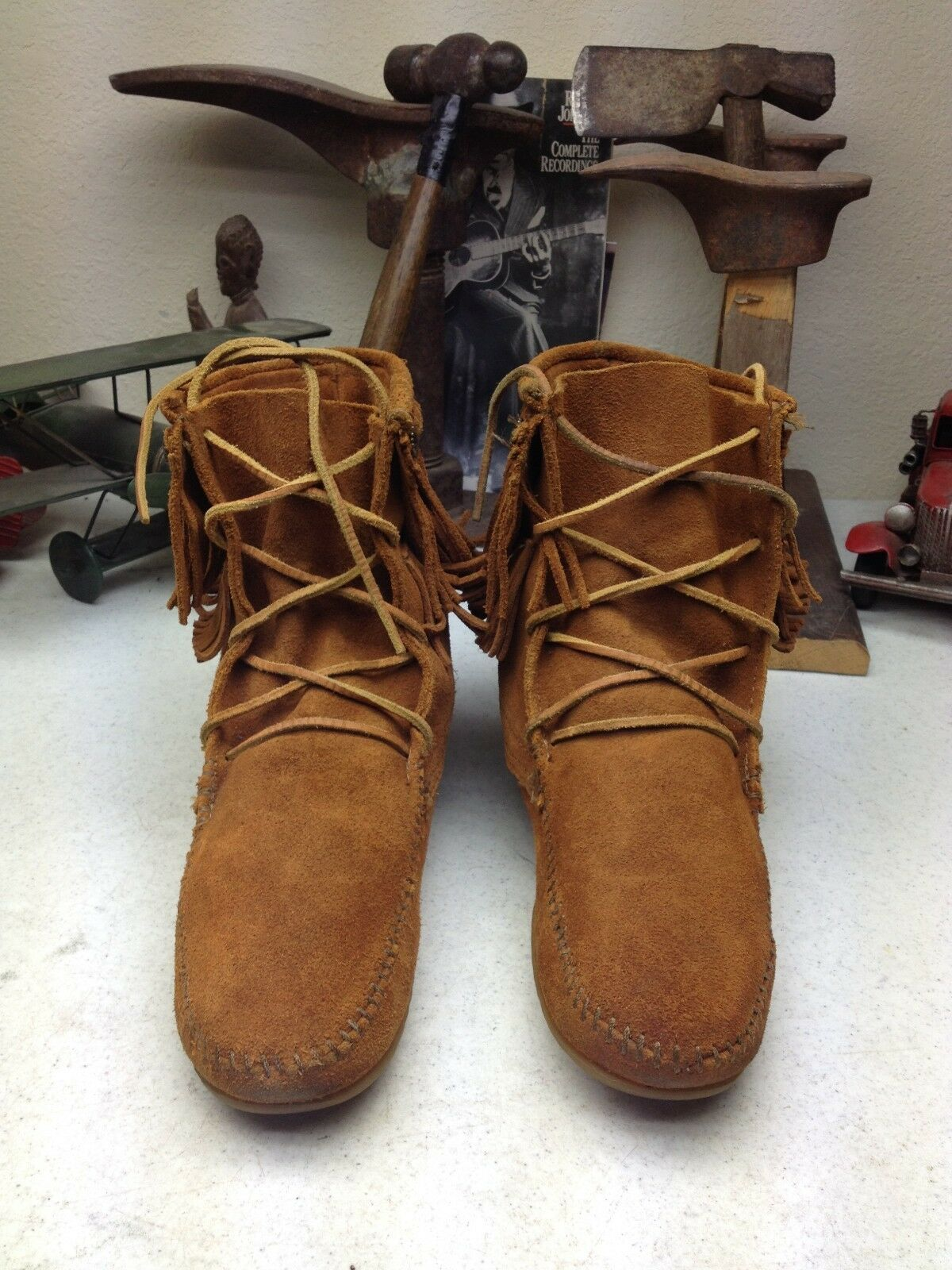 MINNETONKA MOCCASIN BROWN LEATHER 9 FRINGE HIPPIE WINTER WALKING BOOTS 9 LEATHER B cf9a3c