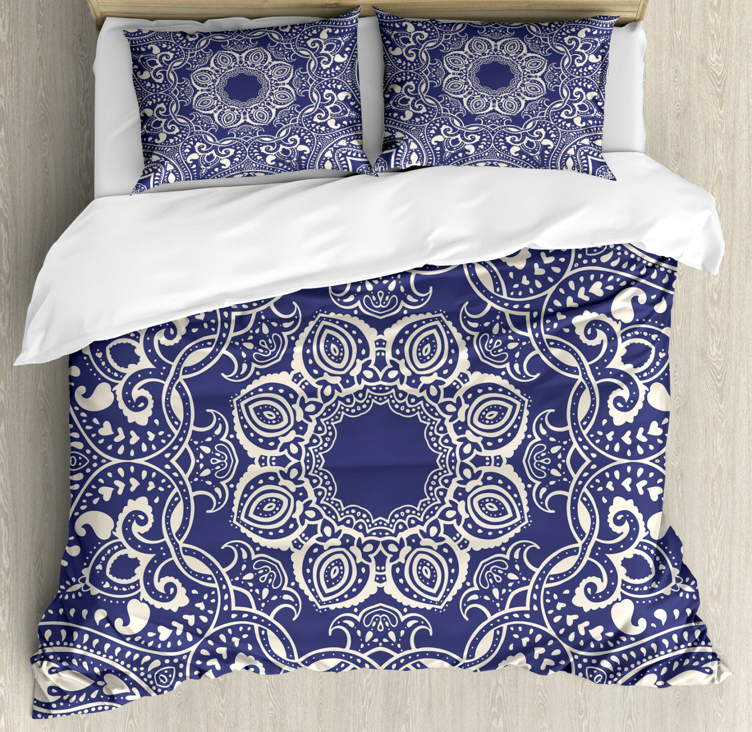 Oriental Duvet Cover Set with Pillow Shams Artistic and Curly Leaves Print