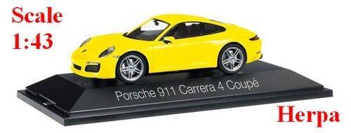 Porsche 911 Carrera 4 Coupé jaune - HERPA -  Echelle 1 43