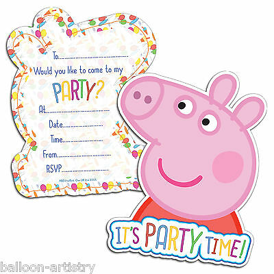 6 Peppa Pig Cute CARNIVAL Birthday Children's Party Invitations plus Envelopes