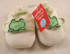 Carter's 0-6 mo Baby Girls Boys Soft White Cozy Slip-on Slippers Shoes Frog