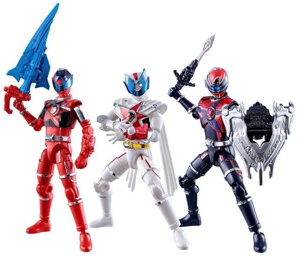 Japan Rare Uchu Sentai Kyuranger Shokugan Yu-Do 3 types Action Figures Complete