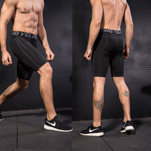 Mens Compression Tights Fitness Gym Training Underwear Shorts Spandex Stretchy
