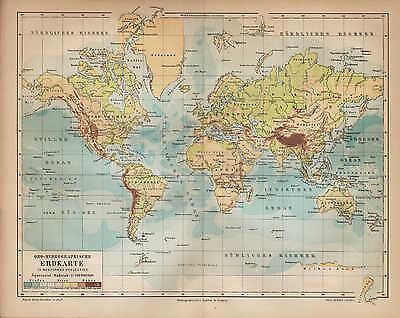 Ausdrucksvoll Landkarte Map 1890: Oro-hydrographische Erdkarte. Ozean