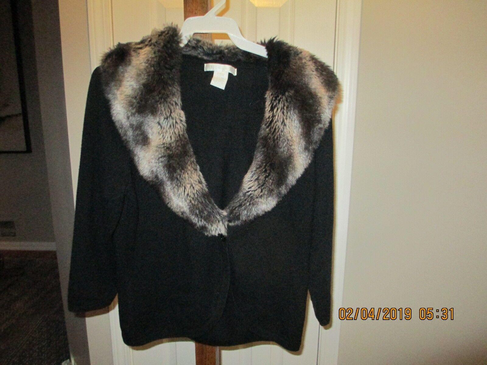 Design History Sweater with detachable faux fur - size L L L a4db1e
