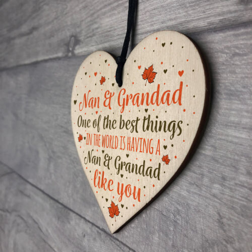 Nan Grandad Gifts Hanging Heart Sign Birthday Christmas Xmas Grandparent Gifts