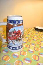 "Budweiser Clydesdale Christmas Holiday Stein Mug 1995 ""Lighthouse"""