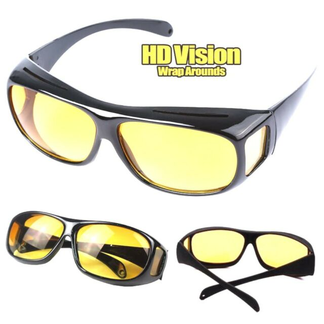 cd8045cb9e6 The Real Wrap Arounds Fit Over Night Optic Vision Driving Anti Glare HD  Glasses