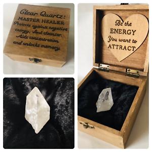 Personnalisé Boîte De Guérison Clair Cristal De Quartz Gemstone Reiki Ensemble Cadeau Spirituel