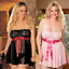Women-039-s-Plus-Size-Lace-Dress-Lingerie-Set-Underwear-Sleepwear-Babydoll-Nightwear