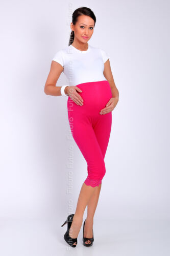 Maternity 3//4 Length Leggings with Lace Cropped Pants High Waist Sizes 8-22 LCKK