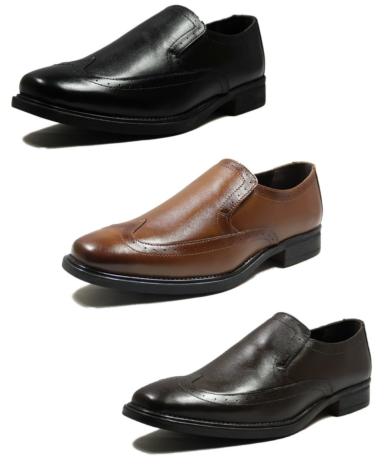 Mens New Lucini Leather Formal Office Party Slip on shoes in Black Tan Brown