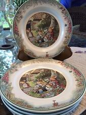 "Villeroy & Boch Foxwood Tales Picnic 6 3/4"" set (4) plates, rabbits, Paterson"