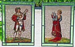 Bleiverglasung-2-antike-Fensterbilder-Glasmalerei-Troubadour-Schankmaid