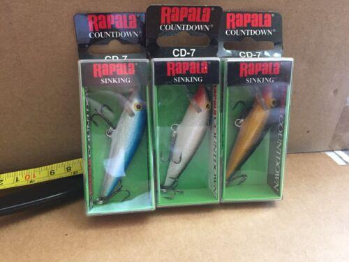 LOT OF 3 RAPALA Countdown CD-7 Various Colors