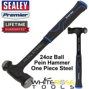 Sealey Ball Pein Hammer 24oz 680g One Piece Steel Head Shaft Premier Rubber Grip