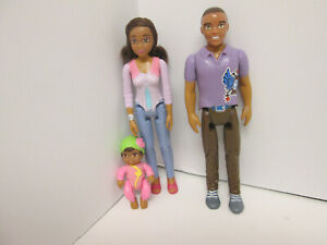 Fisher Price loving Family dollhouse 2014 AFRICAN AMERICAN DAD DOLL stripe shirt