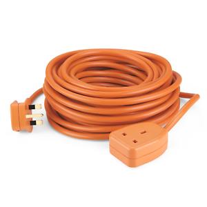 Simbr Extension 15 m Câble sous plomb Heavy Duty Cordon Fil avec 1-Gang 13 A Plug Socket