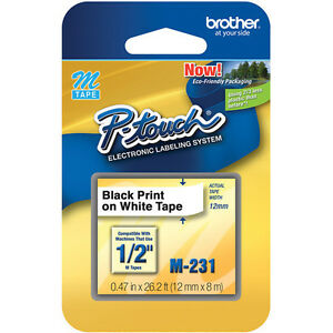 Brother-M231-M-12mm-1-2-half-inch-black-on-white-P-touch-label-tape-PT85-MK231
