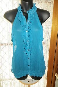 VINTAGE-Style-Sheer-Aqua-Cutaway-Shoulders-TOP-Size-12-REDUCED
