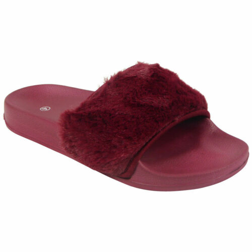 Ladies Womens Summer Celeb Farrah Fur Rubber Slip On Sliders Mules Sandals Shoes