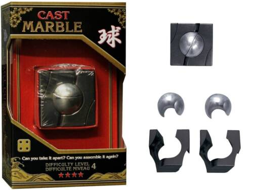 *NEW IN BOX* Hanayama Cast Metal Puzzle MARBLE Level 4