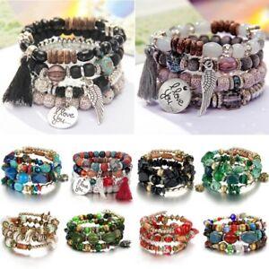 Boho-Multilayer-Natural-Stone-Agate-Turquoise-Crystal-Bangle-Beaded-Bracelet-Hot