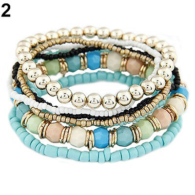 1 Set 7Pcs Stylish Womens Boho Wholesale Multilayer Acrylic Beads Beach Bracelet