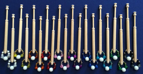 10 Pairs of Spangled Midland Wooden Lace Making Bobbins by Harlequin Lace
