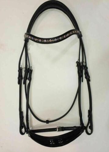 Adams-Tack Rolled Patent Leather Drop Noseband Bridle with 8mm Browband
