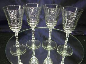 Vintage Wine Glass Normandy Pattern by LibbyRock Sharpe