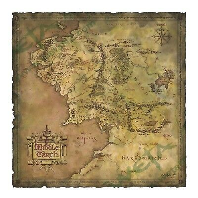 LOTR Hobbit Parchment Map of Middle-earth An Unexpected Journey Authentic  WETA | eBay