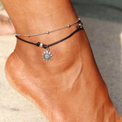 ☆ plata fußkettesol Sun perlas sustancia metal20 hasta 27cmmetales preciosos ☆