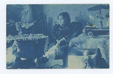 RPPC PHOTO LEHMANN CAR, DOLLS, TIN WINDUP CAROUSEL, TEDDY BEAR, BLUE CYANOTYPE