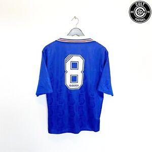 1996/97 GASCOIGNE #8 Rangers Vintage adidas Home Football Shirt Jersey (M)