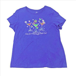 EUC-Get-Your-Holiday-Cheer-On-Womens-Blue-2XL
