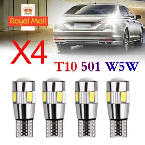 4x T10 501 W5W CAR SIDE LIGHT BULBS ERROR FREE CANBUS 6SMD LED XENON HID WHITE D