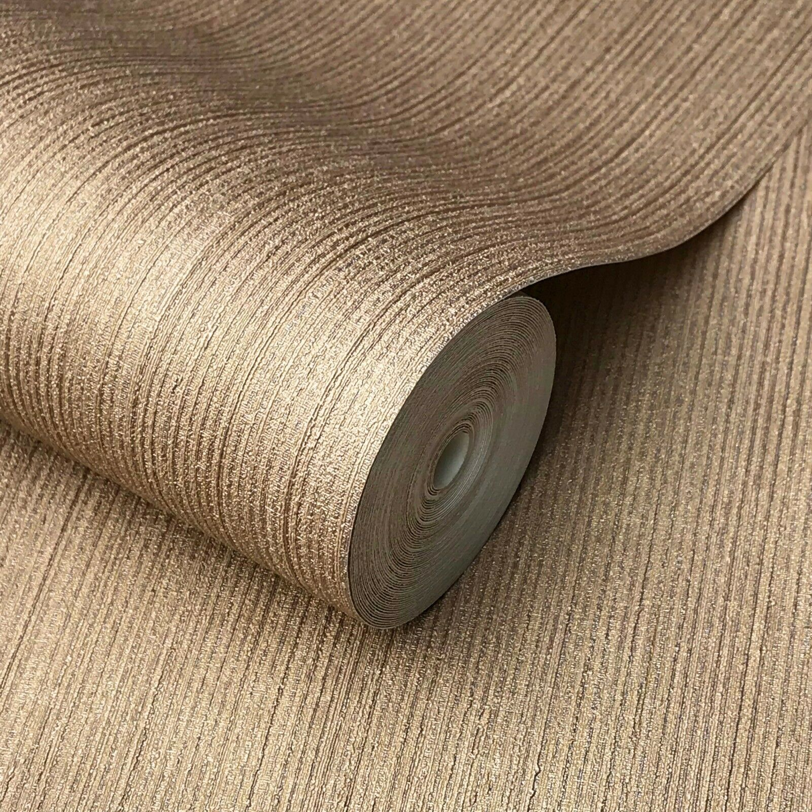 Wallpaper rolls textured lines wall coverings Cocoa gold Copper metallic Plain