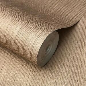 Wallpaper-rolls-textured-lines-wall-coverings-Cocoa-Gold-Copper-metallic-Plain