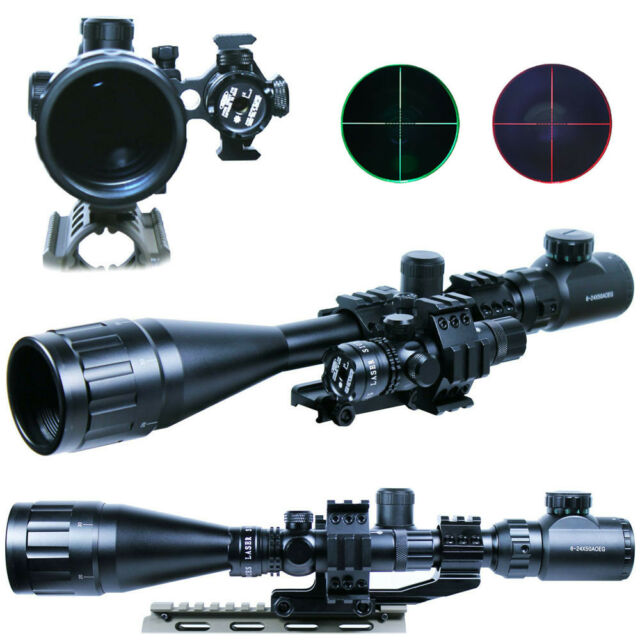 6-24x50 AOEG Rifle Scope Mil-dot illuminated + Red Laser Sight & PEPR Rail Mount