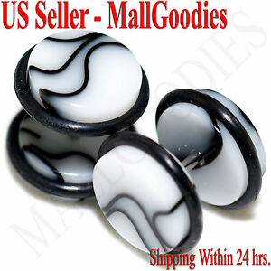 2018-White-Marble-Fake-Cheater-Illusion-Faux-Ear-Plugs-16G-Bar-1-2-034-12mm-2pcs