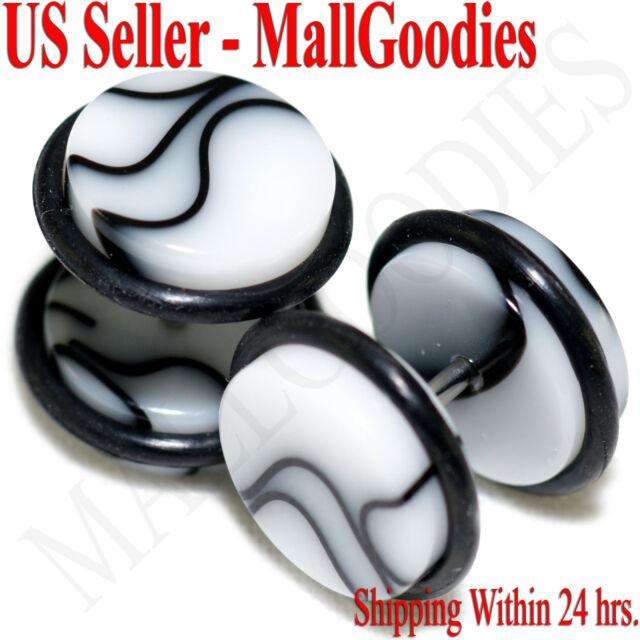 "V104 Fake Cheaters Illusion Faux Ear Plugs 4G 2G 0G 00G 7//16/"" 1//2/"" Black Marble"